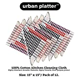 #3: Urban Platter Multi-Purpose Cotton Checks Kitchen Cleaning Cloth, Napkin, Table Wipe - 15x15 inch, (Pack of 12)