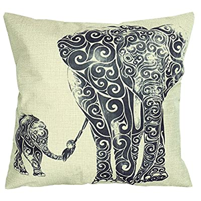 """Luxbon Indian Lovely Elephant Mother and Baby Print Cushion Cover Durable Cotton Linen Sofa Throw Pillow Case Home Bedroom Decor 18""""X18"""" 45x45cm - low-cost UK light store."""