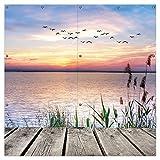 Wallario XXL Garten-Poster Outdoor-Poster - Seepanorama mit Schilf und fliegenden Vögeln in Premiumqualität, für den Außeneinsatz geeignet