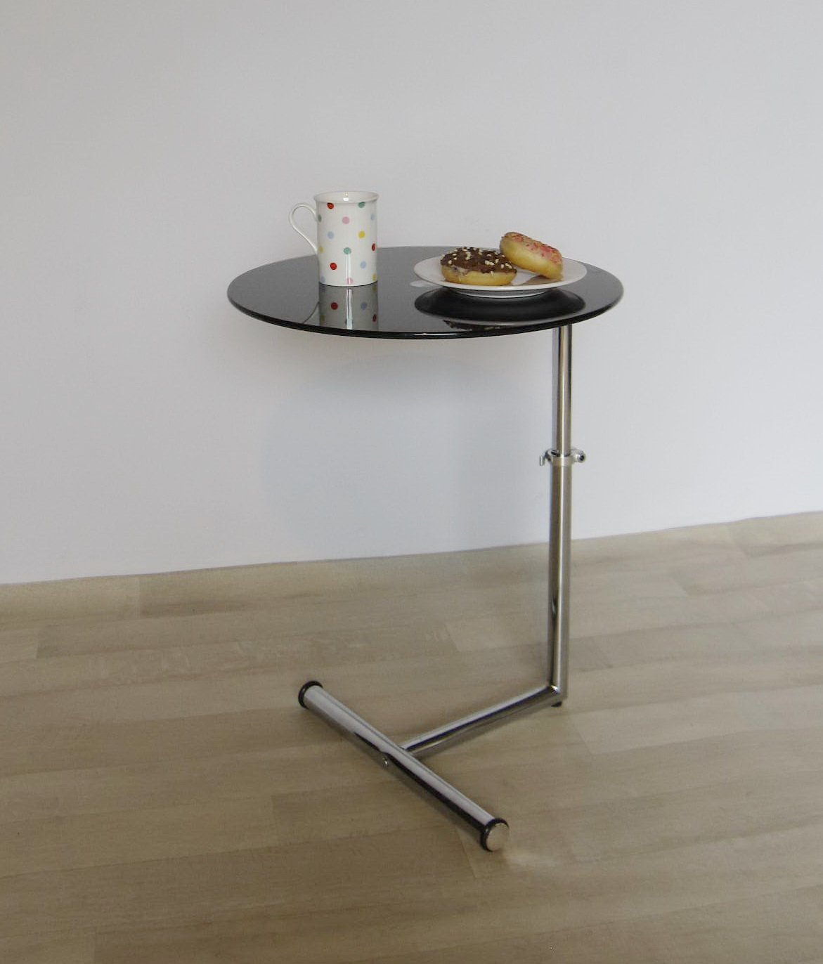 Wonderful Clear Or Black Glass Side/End/Laptop/Coffee Table Zen Adjustable Round Table  (CLEAR): Amazon.co.uk: Kitchen U0026 Home