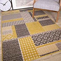 Milan Ochre Mustard Yellow Grey Beige Patchwork Squares Traditional Living Room  Rug 120cm X 170cm