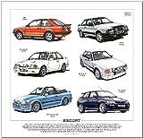 Ford Escort MK2 zu Mk5 Print --- XR3i, RS1600i, RS Turbo Cabriolet, XR3i &RS Cosworth. fertig zum Rahmen.