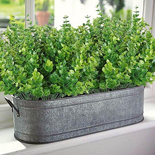 Mihounion 4 Pcs Plantas Verdes Artificiales Eucalipto Hojas Arbustos - Plantas-verdes-exterior