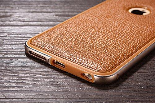Kepuch Elegance Apple iphone 6 Plus 6S Plus Étui - Véritable Cuir Dos Housse & Aluminium Pare-chocs pour Apple iphone 6 Plus 6S Plus - Brun Brun