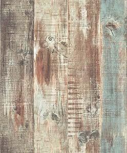 Blooming Wall Vintage Wood Panel Wood Plank Wallpaper Wall Mural For Livingroom Bedroom Bathroom, 20.8 In*32.8 Ft=57 Sq.ft,Tan/Blue/Brown/Gray
