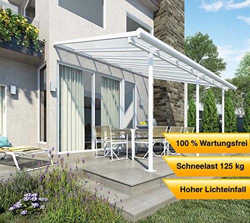 Hochwertige Aluminium Terrassenüberdachung, Terrassendach Sierra 299x555 cm (TxB) - weiß inkl. Befestigung und Regenrinne