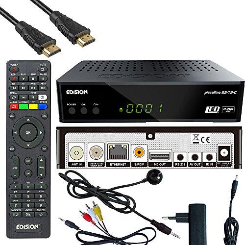 Edision Kabelreceiver Piccollino S2+T2/C Full HD HDTV DVB-C/T2/S2 (HDMI, AV, USB 2.0,Display,IR-Auge,CA,LAN) inkl.Kabelabel HDMI Kabel
