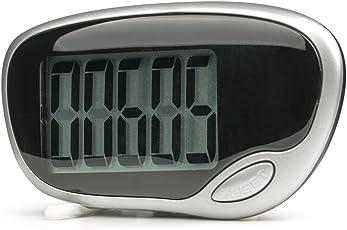 Incutex tragbarer Schrittzähler, Pedometer, Stepcounter, Kalorienmesser, Schrittmesser, schwarz - silber