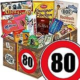Geschenk zum 80. Geburtstag | Schokoladensets | mit Halloren, Zetti, Viba und mehr | GRATIS DDR Kochbuch | Schoko Geschenk Set