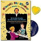 Klassik für Kinder - 25 leichte Stücke für Klarinette in B und Klavier mit CD - 4 Jahrhunderte Musikgeschichte - Herausgeber Ulrike Warnecke ( mit bunter herzförmiger Notenklamme )