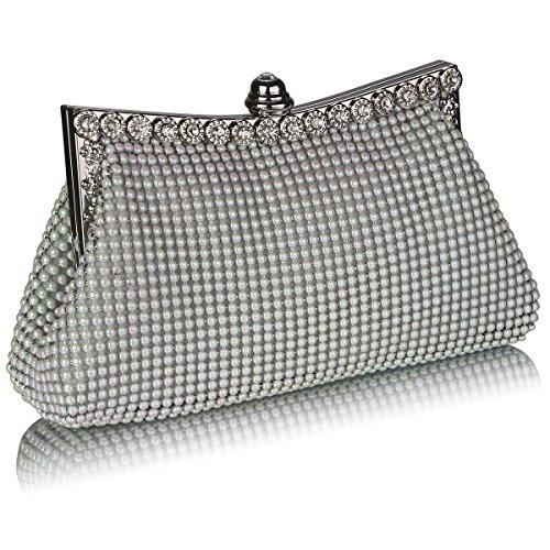 Trend Star Ladies Bella Scintillante Perline Crystal Diamante Evening Party Underarm Bag Bianco