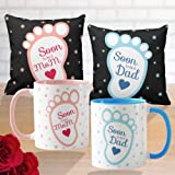 Funky Store Soon to Be Mom Dad Would Be Mom Dad Gifts White Ceramic Mugs (11OZ) Cushion Covers with Fillers (12x12 inches)