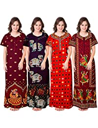 Mudrika Women's Cotton Nightdress (Multicolor, Free Size) Combo Pack of 4 Peice