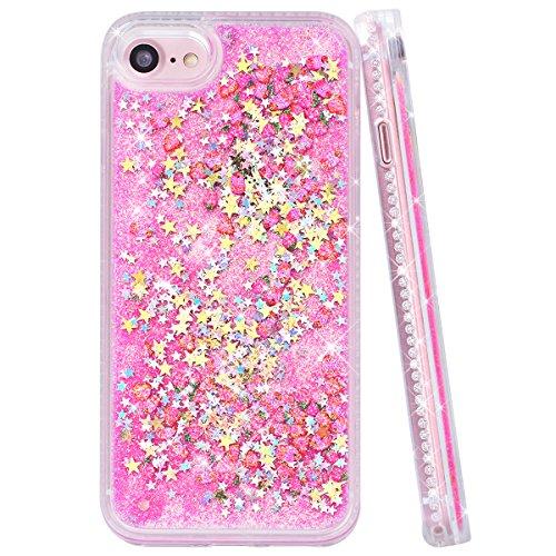 Yokata iPhone 7 Hülle Transparent Glitzer Flüssig Hardcase für Mädchen 3D Kreative Treibsand Liquid Bling Handyhülle Crystal Handy Tasche Weiche Silikon Soft Flexible TPU Bumper mit Diamant Ultra Dünn Rosa Pink