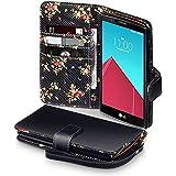 LG G4 Tasche, Terrapin Handy Leder Brieftasche Case Hülle mit Kartenfächer für LG G4 Hülle Schwarz mit Blumen Interior