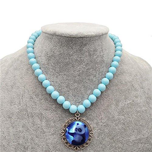 Tery 1 pc little girl cartoon panda pendente beeded collana gioielli collezioni fascino collana di perline accessori per feste blu 2