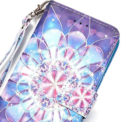 """MOONCASE iPhone 7 Coque, Creative 3D motif Bling Diamond Case Portefeuille Housse en Cuir Etui à rabat avec Béquille pour iPhone 7 4.7"""" -Colorful feathers Crystal Fleur"""