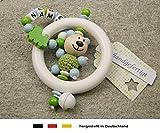 Baby Greifling Rassel Beißring mit Namen | individuelles Holz Lernspielzeug als Geschenk zur Geburt & Taufe | Jungen Motiv Bär und Lokomotive in grün