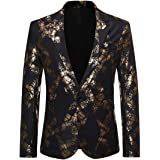 fghvcbnghf Men Blazers Black Navy Blue Gold Print Jacket Wedding Suit Causal Blazer Singer Host Stage Jackets