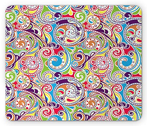 Abstract Mouse Pad, Sixties Inspired Abstract Rainbow Colored Waves Work of Art Swirls Curves Print, Standard Size Rectangle Non-Slip Rubber Mousepad, Multicolor -