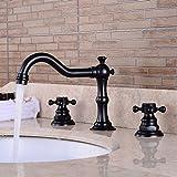 XPYFaucet Wasserhahn Armatur Mischbatterie Europäische Schwarze Bronze Becken Retro-Waschtisch DREI-Loch-Bad unter dem Becken heiß und kalt dreiteilig, schwarz antik