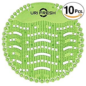 New Pantalla De Orinal & Desodorizante (10 unidades) 3.0 Estera De Urinario Verde Manzana por Uri-Fresh (Manzana