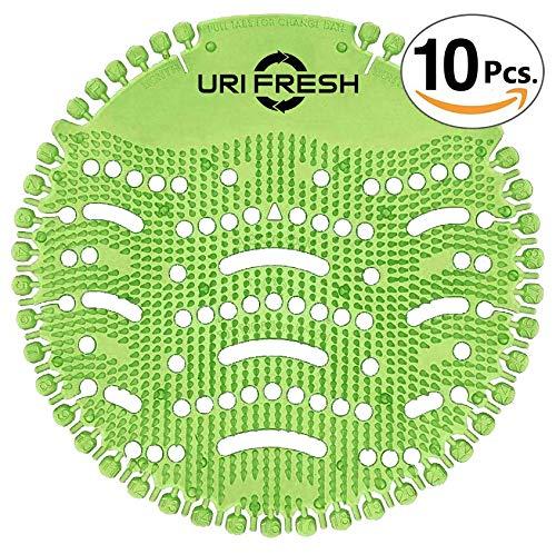Uri-Fresh 10 Stück Urinalsieb mit 10 Paar Einmalhandschuhe und Wechselindikator - Duft Grüner Apfel -
