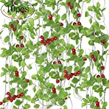 SPECOOL 10Strähnen (80Füße) Künstliche Sea Brassen grün Blätter und Strawberry Fake Hanging Vine Pflanze für Hochzeit Party Garten Wand Dekoration Cherry