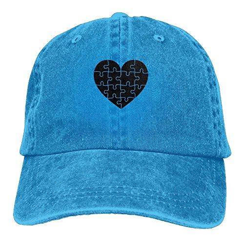 Heart Puzzle Black Denim Baseball Caps Hat Adjustable Cotton Sport Strap Cap for Men Women (New York Yankees Puzzle)