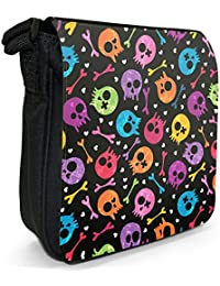 Fun With Cute Skulls, Bones and Colours Small Black Canvas Shoulder Bag - Size Small