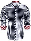 hippierHerren Kariert Hemd Slim Fit Modern Langarm Hemd Baumwolle Freizeit Hemd- Gr. EU 48/(Asian M), Blau
