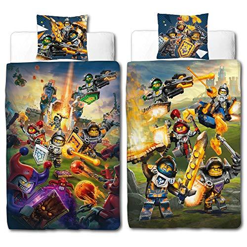 BERONAGE Linon Kinder Bettwäsche Lego Nexo Knights Blue Action - 135 x 200cm + 80 x 80cm - Neu & Ovp - 100% Baumwolle - Lance - Axl - Macy - Clay - Aaron - Jestro Renforcé - deutsche Größe