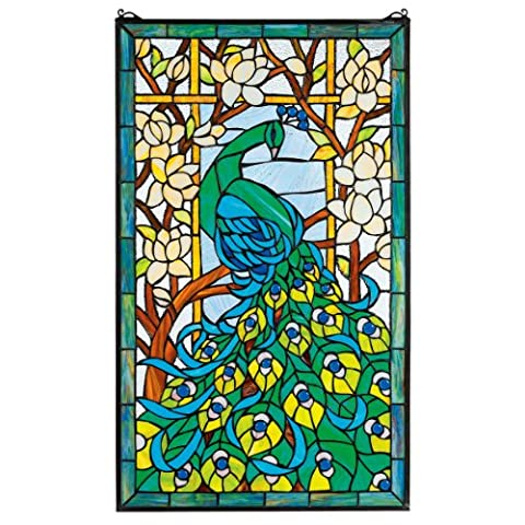 Design Toscano Peacock's Paradise Stained Glass Window