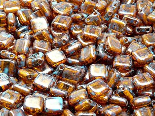 40pcs Ceco Perle di vetro Tile con due fori, piatto quadrata 6x6x2.9mm Amber Travertine
