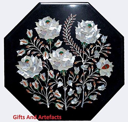 Gifts And Artefacts 35,6 cm Octagon en marbre Noir Fleur Art Dessus de Table à café Incrustation en Nacre Pierre