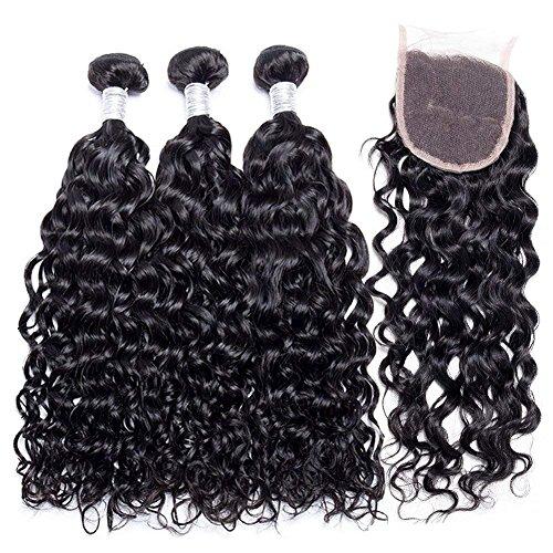 Yavida capelli umani con chiusure brasiliani extension capelli veri ricci extension capelli umani onda d'acqua capelli veri tessitura 12 14 16+12 pollici