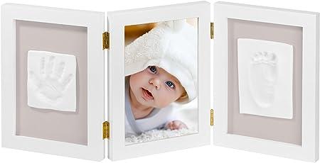 NIMAXI Baby Bilderrahmen Mit Gipsabdruck, Größe 35x15cm, Farbe Weiß,  Bilderrahmen Abdruckset Handabdruck Und