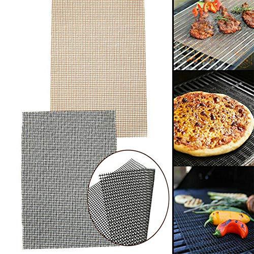 BBQ Grillmatte eckig 33x40 cm,Wiederverwendbare BBQ Grillmatte für Gasgrill & Holzkohlegrills mit Antihaftbeschichtung,zuschneidbar (Schwarz, OneSize)