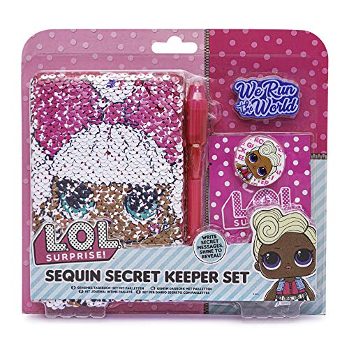 L.O.L. Surprise ! LOL Mini Diary Set for Girls - Contains A6 Diary, UV Pen, Erasers and LOL Surprise Bag. Choice of Plush, Glitter and Sequin Diaries. (Sequin)