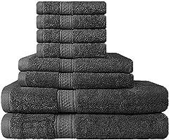 Idea Regalo - Set Premium di Asciugamani 8 Pezzi (Grigio); 2 Asciugamani da Bagno, 2 Asciugamani e 4 Salviette - Cotone - Qualità da Hotel, Super Morbida ed Altamente Assorbente da Utopia Towels