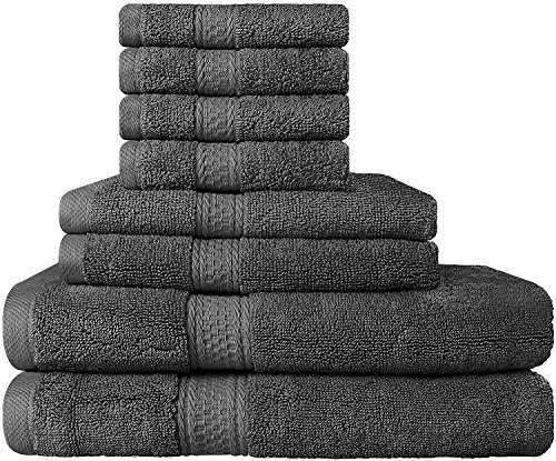 Premium Bad Handtuch-Set 8-teilig; 2 Badetücher, 2 Händehandtuch und 4 Waschlappen - 100%  Ringgesponnene Baumwolle - Super Weich und Hoch Absorbierend - von Utopia Towels (Grau) (Handtücher)