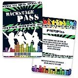 Einladungskarten Geburtstag als Backstage Pass | 40 Stück | Inkl. Druck Ihrer Texte | Einladungskarten zum Geburtstag | Karaoke | Kindergeburtstag | Einladungen | Einladungskarte Jungen Mädchen