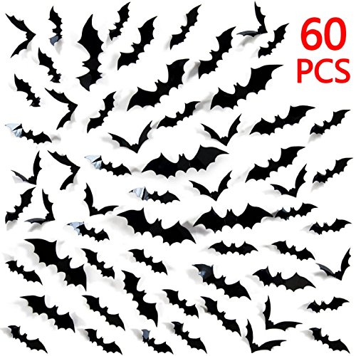 Tuopuda Halloween Wandtattoo Fledermaus Wandsticker Halloween Party Dekoration DIY Home Deko Wandaufkleber 3D Fledermäuse 60 (Halloween Dekoration Diy)