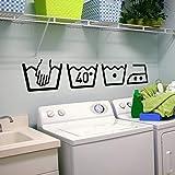 ICUTEDIY Machine À Laver Décor À La Maison Buanderie Décoration Amovible Art Sticker Mural Autocollant Mural