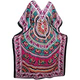 Mogul Interior Kaftan Animal Printed Kimono Sleeves Maxi Cruize Caftan Dress