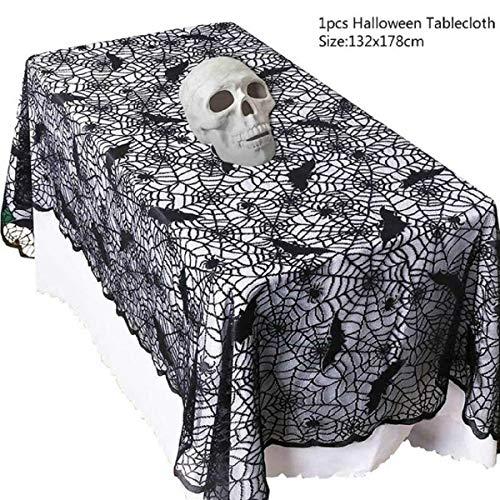 Allinlove Halloween Spinnennetz Tischdecke halbtransparente Horror Büffet Bankett Tafeldeko Halloween Spider Web Creepy Tischdecke für Halloween Dekoration Fledermaus Dekor (132x178cm)