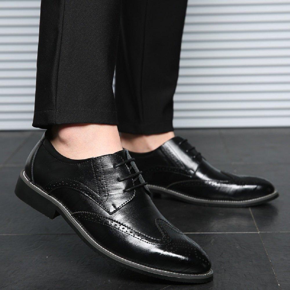Zapatos Oxford Hombre, Brogue Cuero Vestir Cordones Derby Calzado Boda Negocios Negro Marron Azul Rojo Amarillo 38 48EU