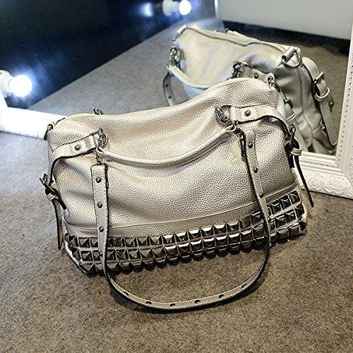 Mode Rivet Top-Griff Handtasche Einkaufstasche Shopper-Handtasche Silver