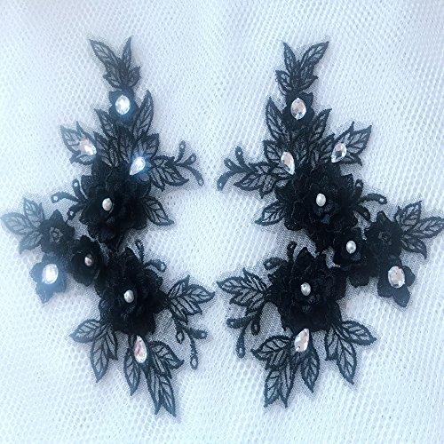 Fait à la main Noir Bordure en dentelle Applique avec perle en cristal strass patches 18 x 14 cm pour robe Accessoires