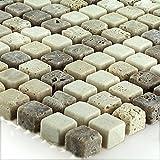 Travertin Naturstein Mosaik Fliesen Micro Braun Beige